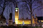 Big Ben at dusk, Westminster, London, England, United Kingdom, Europe