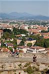 Vue de la basse-ville de haute-ville mur, Bergame, Lombardie, Italie, Europe