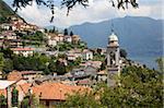 Village au bord du lac, lac de Côme, Lombardie, lacs italiens, Italie, Europe