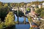 Knaresborough Viaduct and River Nidd in autumn, North Yorkshire, Yorkshire, England, United Kingdom, Europe