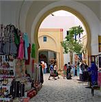 Stands de souvenirs shopping et restaurant complexe, la médina, Yasmine Hammamet, Cap Bon, Tunisie, Afrique du Nord, Afrique