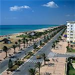Découvre le long du front de mer depuis le toit de l'hôtel Lella Baya, Yasmine Hammamet, Cap Bon, Tunisie, Afrique du Nord, Afrique