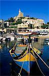 Luzzu fishing boat, Mgarr harbour, Gozo, Malta, Mediterranean, Europe
