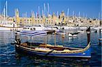 Voir toute l'arsenal Creek au Musée Maritime de Vittoriosa avec bateau traditionnel, Senglea, Malte, Méditerranée, Europe
