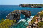 Arche naturelle, Cala Santanyi es Pontas, Mallorca (Majorque), îles Baléares, Espagne, Méditerranée, Europe