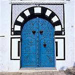 Traditionnelle porte tunisienne, Sidi Bou Saïd, Tunisie, Afrique du Nord, Afrique