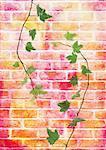 Briques avec ivy