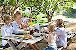 Famille ayant la nourriture au front ou back yard