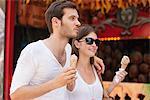 Couple eating ice creams, Paris, Ile-de-France, France