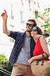 Couple smiling, Montmartre, Paris, Ile-de-France, France
