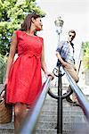 Couple on staircases, Montmartre, Paris, Ile-de-France, France