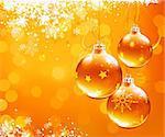 Illustration vectorielle de fond abstrait orange de Noël avec des flocons de neige fraîches et des décorations de Noël