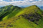 Rocky ridge in Marmaroski alps. Carpathians. Ukraine. Zakarpattya. Romanian border