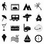Leisure and recreation icon set on white background