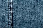 Worn blue denim jeans texture with stitch