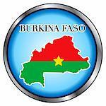 Vector Illustration for Burkina Faso, Round Button.