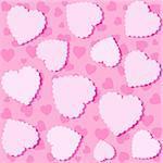 Seamless White Heart Pattern. Vector Illustration On Pink Backdrop
