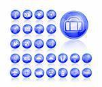 Shiny Blue Travel Icon Set. Vector illustration