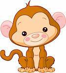 Fun zoo. Illustration of cute Monkey