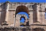 Stone wall of roman theater in El-Jem, Tunisia