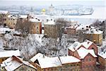 January winter view of Strelka Nizhny Novgorod Russia
