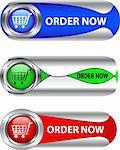 Metallic order now button/icon set for web applications. Vector