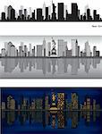 NewYork skyline with reflection in water