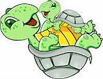 Vector Illustration Of Cartoon Funny Turtle
