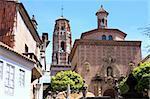 Mudejar bell tower Spanish village in Barcelona, Spain