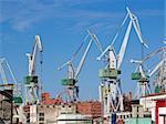 shipyard and cranes in Pula Croatia