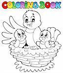 Coloring book bird theme 1 - vector illustration.