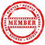 Red Member Stamp over white background