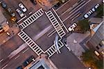 Erhöhte Ansicht Kreuzung von Berkeley Street und St. James Avenue, Back Bay, Boston, Massachusetts, USA