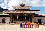Local women in national dress lined up ready to dance during the Gangtey Tsechu at Gangte Goemba, Gangte, Phobjikha Valley, Bhutan, Asia