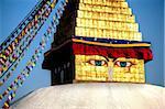 Gros plan du Stupa de Bodhnath (Boudhanth) (Boudha), un des sites plus sacrés bouddhistes à Katmandou, l'UNESCO patrimoine de l'humanité, avec la dorure brillant dans la lumière du soleil soirée, Katmandou, Népal, Asie