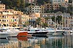 View across the harbour at sunrise Port de Soller, Mallorca, Balearic Islands, Spain, Mediterranean, Europe