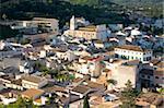 Blick über die Dächer von den Zinnen der Burg, Capdepera, Mallorca, Balearen, Spanien, Europa