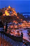 Od town with castle in winter, Saarburg, Saar Valley, Rhineland-Palatinate, Germany, Europe