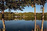 River Mosel and Thon Castle near Nennig, Rhineland-Palatinate, Germany, Europe