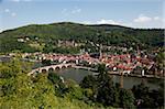 La rivière Neckar, vieux pont, vieille ville et château, Heidelberg, Bade-Wurtemberg, Allemagne, Europe
