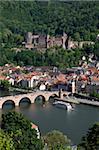 Old Bridge over the River Neckar, Old Town and castle, Heidelberg, Baden-Wurttemberg, Germany, Europe