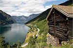 Aurlandsfjorden près de Flam, Sogn og Fjordane, Norvège, Scandinavie, Europe