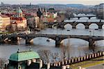 Bridges over the River Vltava, Old Town, Prague, Czech Republic, Europe
