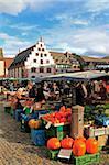 Market at Minster Square (Munsterplatz), Freiburg, Baden-Wurttemberg, Germany, Europe