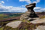 Keller Rock, Derwent Edge, mit lila Heidekraut-Moorland, Salz, Peak-District-Nationalpark, Derbyshire, England, Vereinigtes Königreich, Europa