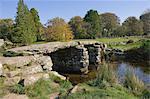Le pont battant à Postbridge, Parc National de Dartmoor, Devon, Angleterre, Royaume-Uni, Europe
