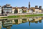 Lungarno delle Grazie et Arno river, patrimoine mondial UNESCO, Florence, Toscane, Italie, Europe