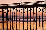 Newport Beach Pier at sunset, Newport Beach, Orange County, California, United States of America, North America