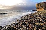 Waves breaking on the rocky foreshore at Elgol, Isle of Skye, Inner Hebrides, Scotland, United Kingdom, Europe