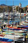Bunten Booten in Port Lympia, Quartier du Port, Nizza, Alpes Maritimes, Provence, Cote d ' Azur, Côte d ' Azur, Frankreich, Mediterranean, Europa